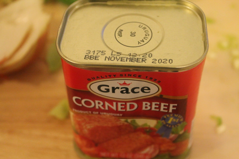 close up photo of canned corned beef